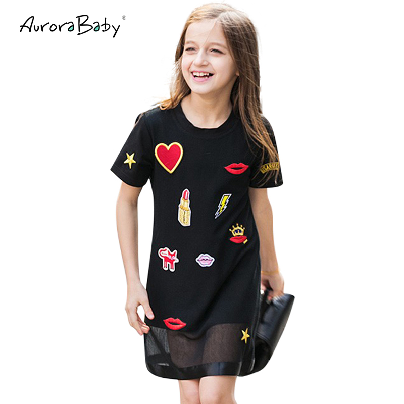 Kids Dresses for Girl Summer Little Girls Dresses Black Appliques Clothing for Girls 6 7 8 9 10 11 12 13 14 Years Old Clothes children s girls summer short sleeve sports suit clothes set for girl print clothing sets 4 6 7 8 9 10 12 13 14 years old