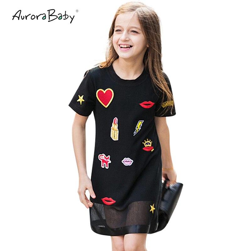 Kids Dresses for Girl Summer Little Girls Dresses Black Appliques Clothing for Girls 6 7 ...