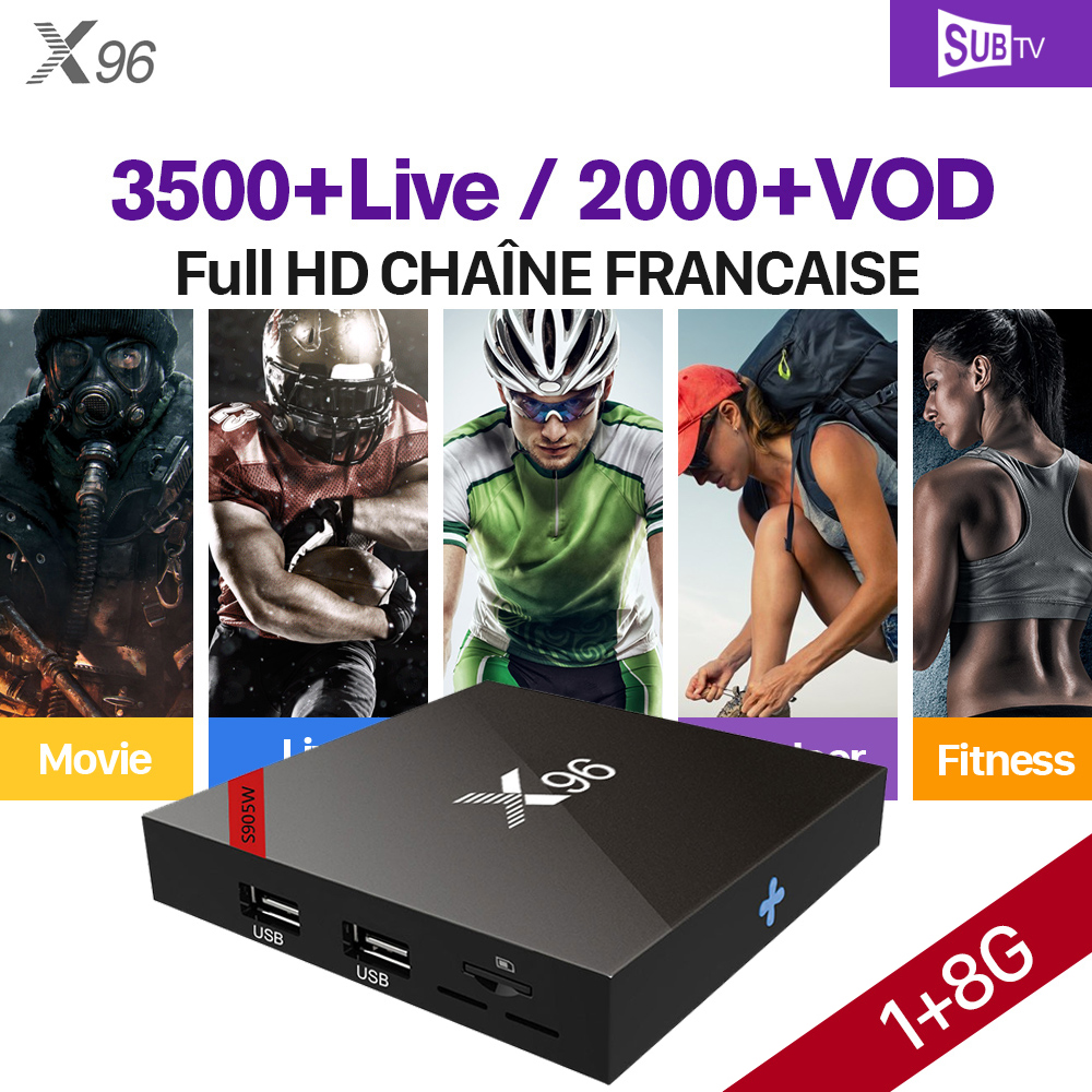 X96 IPTV French Box Full HD SUBTV 1 year IPTV Subscription S905W 1G 8G Android 7.1 French Belgium Canada Arabic Channels IP TV