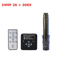 34MP 2K 60FPS HDMI USB Industrial Digital Video Soldering Microscope Camera Magnifier with 100X 180X 200X 300X C mount Zoom Lens