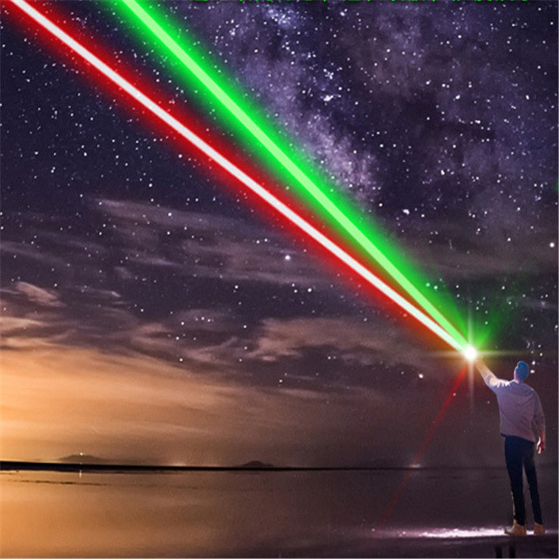 10000m Powerful 2 In 1 Red Green Laser Pointer Waterproof Alloy Adjustable Laser 303 Sight Lazer Pointer For Camping Hunting