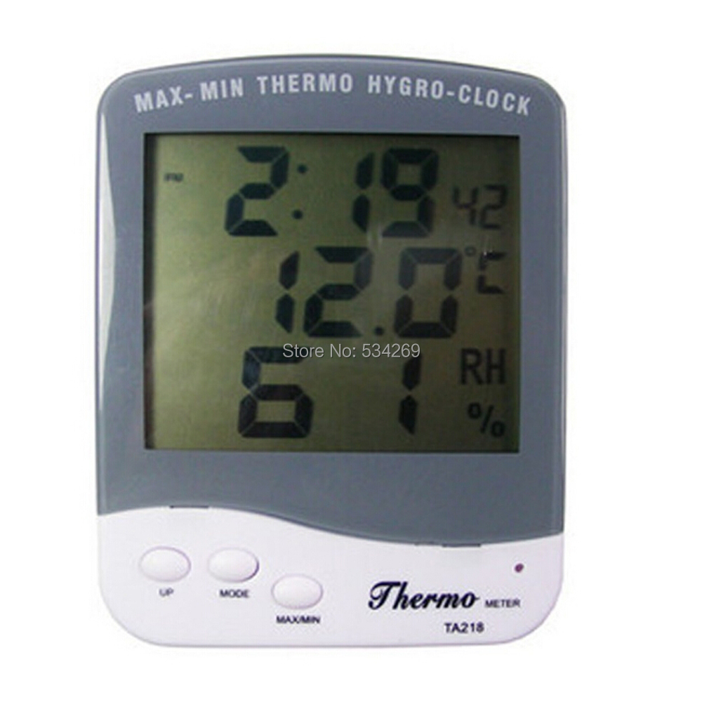 TA218B Indoor Digital Thermometer with Alarm Clock LCD Screen Electronic Temperature and Moisture Meter Back Holder digital indoor air quality carbon dioxide meter temperature rh humidity twa stel display 99 points made in taiwan co2 monitor