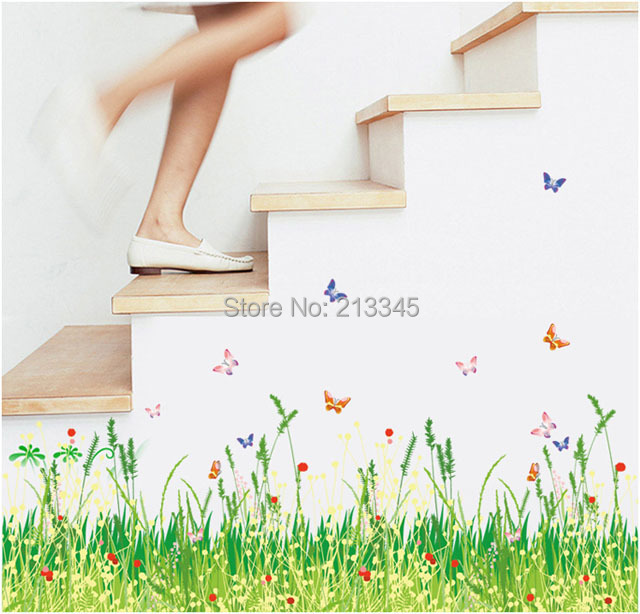 [Saturday Mall] - spring pastoral style fresh green grass butterflies corner waistline home decorative wall stickers 2115