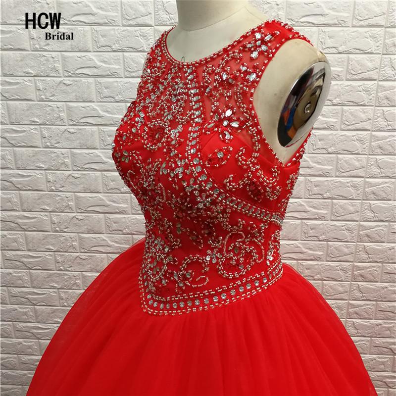 длинные красные бальные платья шикарный красный beadead стразы tulls пышные принцесса сладкий 15 партии платья дешевые пышное платье