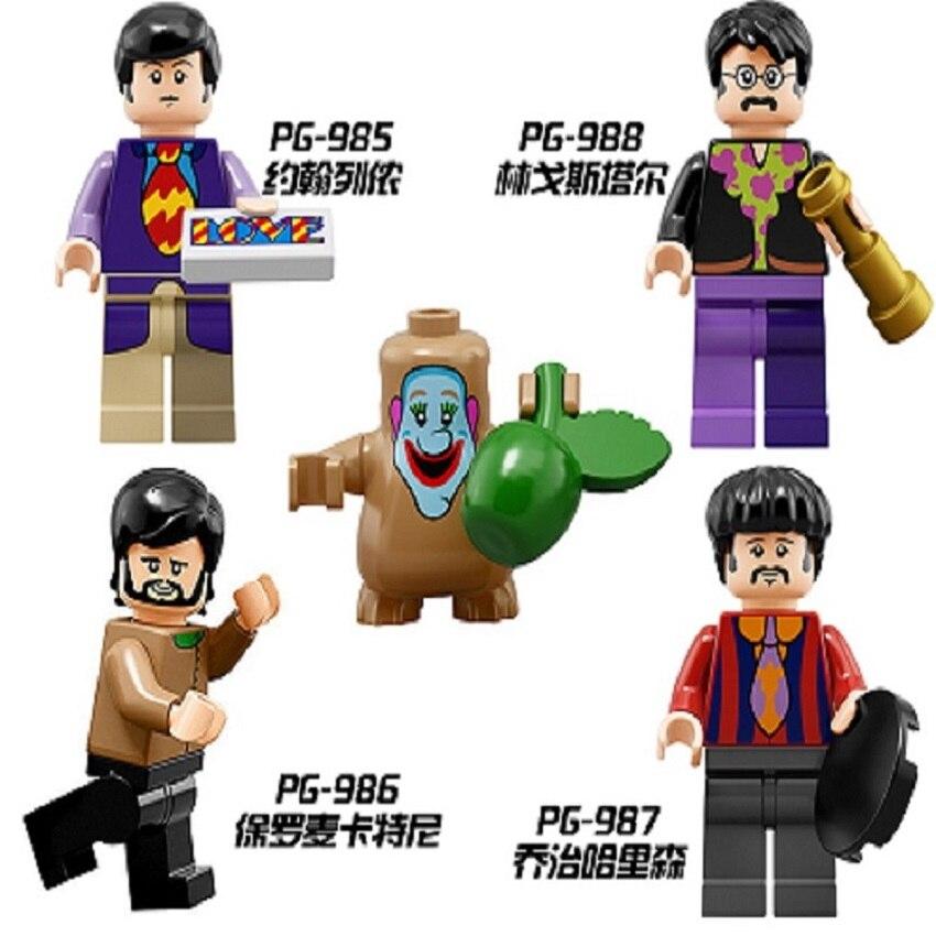 The Beatles John Lennon George Harrison Ringo Starr James Paul McCartney Collectible Figures Building Blocks Toys PG8030