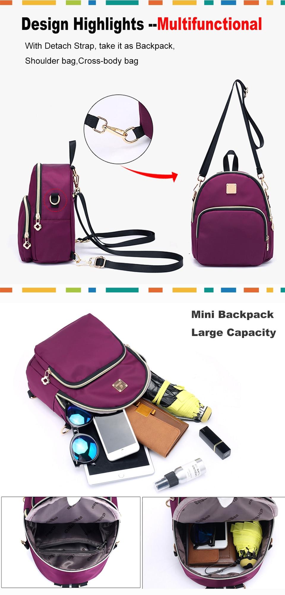 01f7414482 Women Mini Backpack Purse Nylon Waterproof Small Backpack for Girls ...