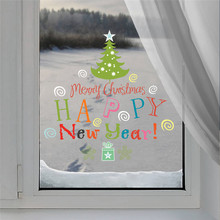Christmas Decoration Tree Wall Decals New Year Sticker Home Window Gift