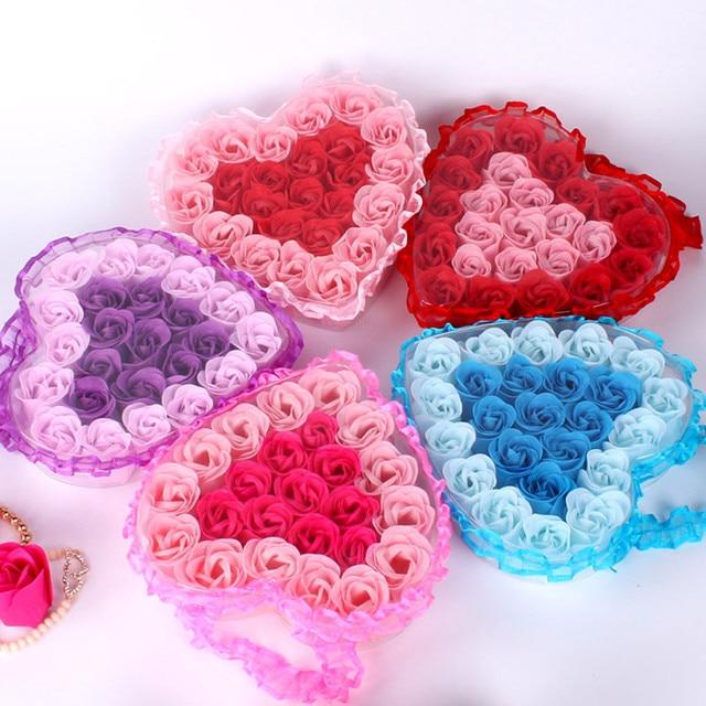 24Pcs Rose Flower Soap Heart Scented Bath Body Petal Rose Flower Soap Wedding Decoration Gift For Lovers 1