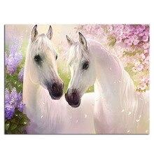 Zwei weißen Pferd 50×38 cm Vollbohrer Diamant Stickerei 3D Diamant Kreuzstich Mode Diamant Mosaik Bilder von Strass