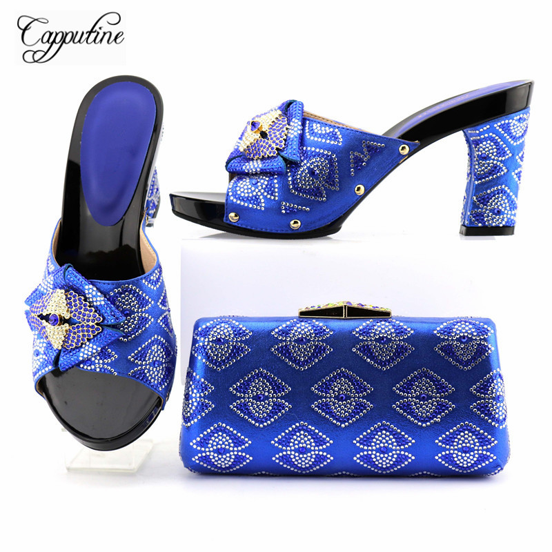Capputine Latest African Style Purple Shoes And Bag Set Italian Rhinestone Woman High Heels Shoes And Bag Set For Wedding Dress