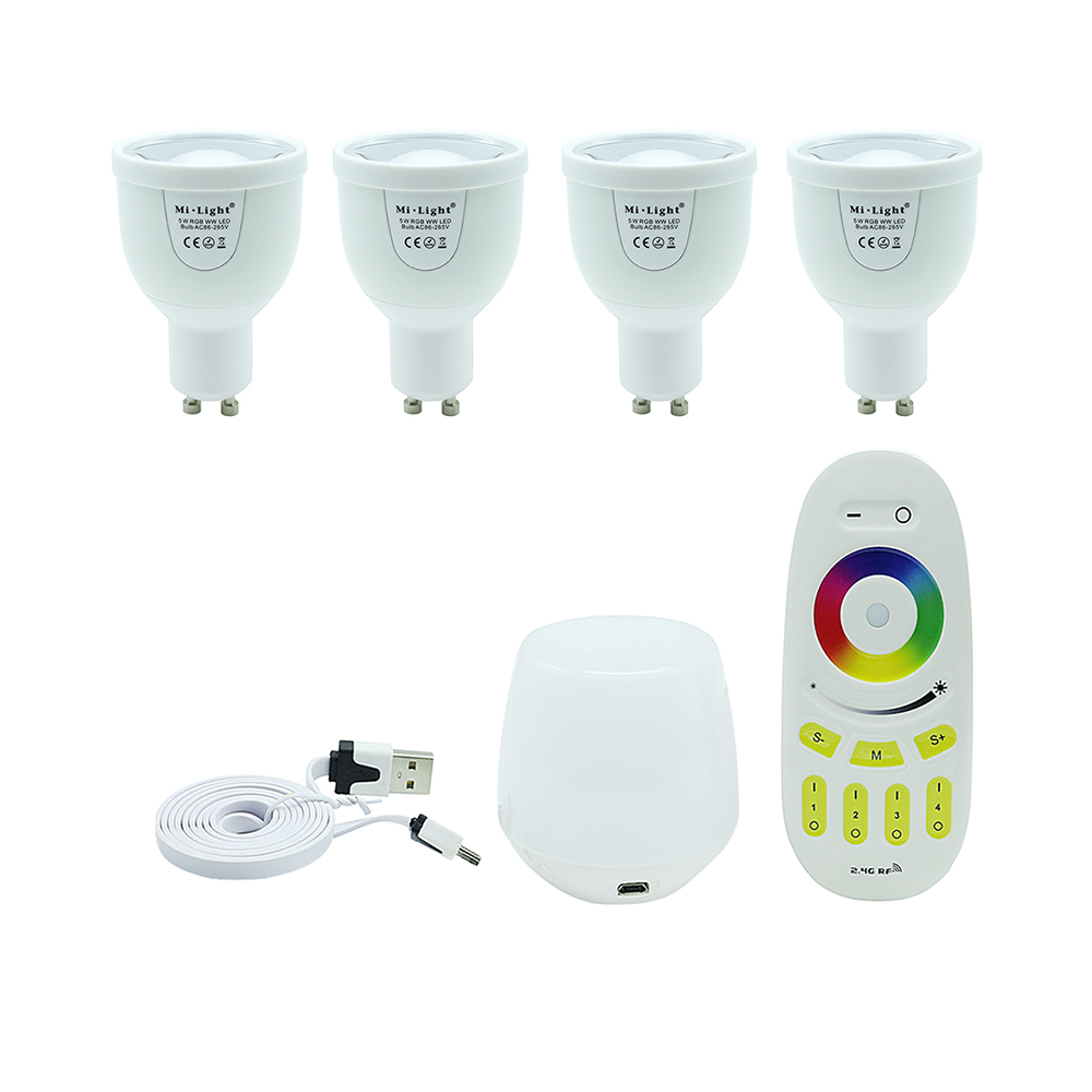 4pcs GU10 5W Mi.Light Dimmable 86-265V RGBW/WW led bulb +RF 2.4G touch remote controller + WIFI Wireless controller LED lamp zigbee bridge led rgbw 5w gu10 spotlight color changing zigbee zll led bulb ac100 240v led app controller dimmable smart led