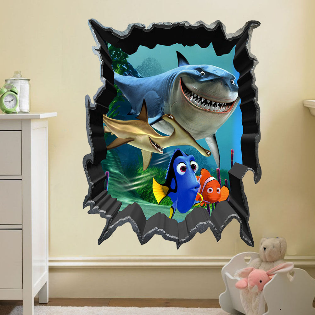 Us 1 39 49 Off Finding Nemo Bruce Dory Fish 3d View Art Wall Stickers Decals Kids Room Decor In Wall Stickers From Home Garden On Aliexpress Com