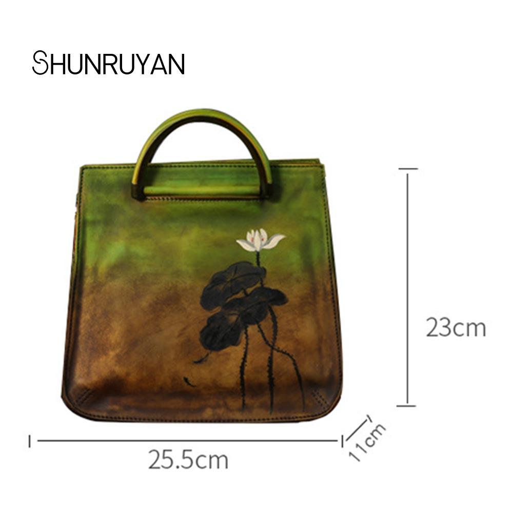 SHUNRUYAN 2018 New Hand-painted Lotus handbags women cowhide shoulder bag Vintage craft wipe color leather Female Messenger bag цены