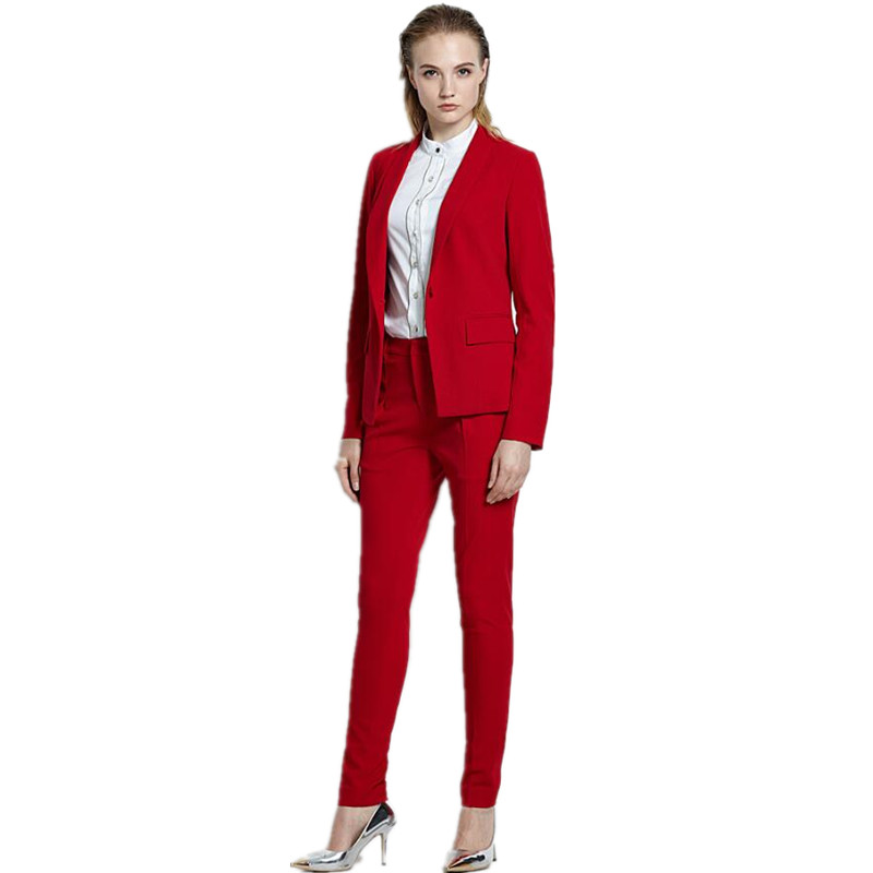 169 Women Pant Suits red OL suit custom western style business suit high quality single breasted 2 Piece Suits jacket+pants