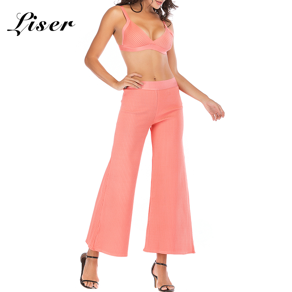 As Nuevo Ancha Dos Pierna Cuello Rosa 2018 Photo De V Pantalones Pantalón Liser Piezas Partido Celebridad Mujeres Elegante Verano Vendaje Vestidos Bodycon Sexy 14T5Yaanx