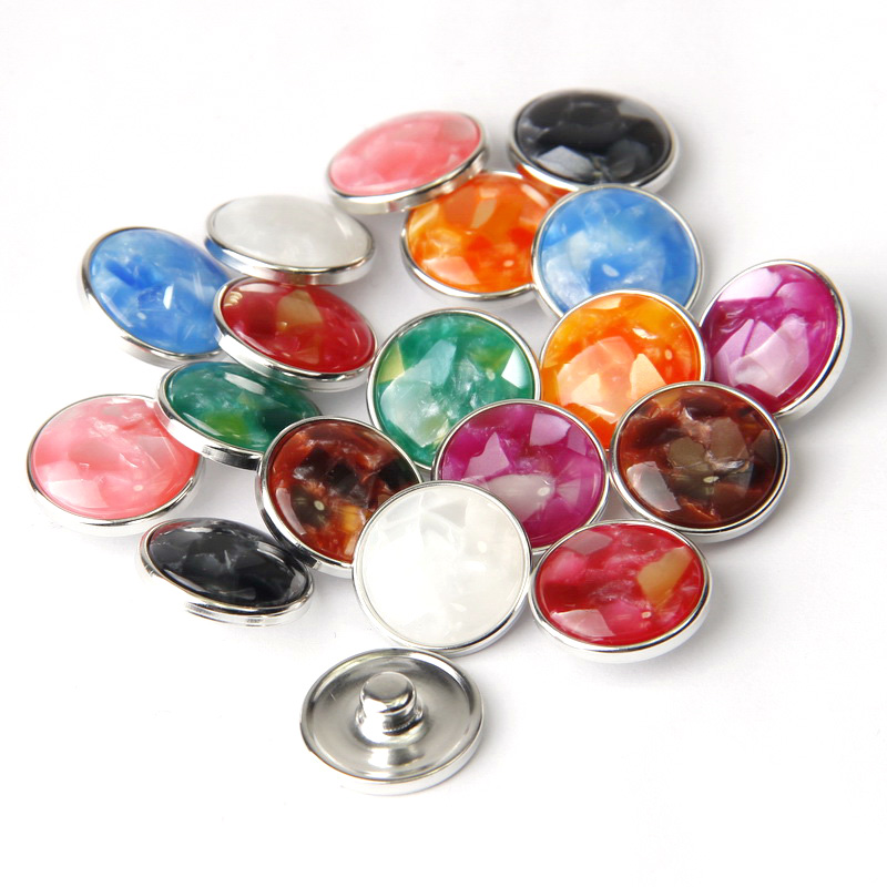 Wholesale 12pcs/lot Snap Button Mix Resin Stones Round Metal 18MM Snap Buttons Fit Snap Bracelet&Bangle Women DIY Snap Jewelry image