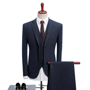 2019 Men Suits For Wedding Slim Fit 3 Piece Mens Dress Suits Fashion Brand Male Woolen Suit Jacket Pants Vest