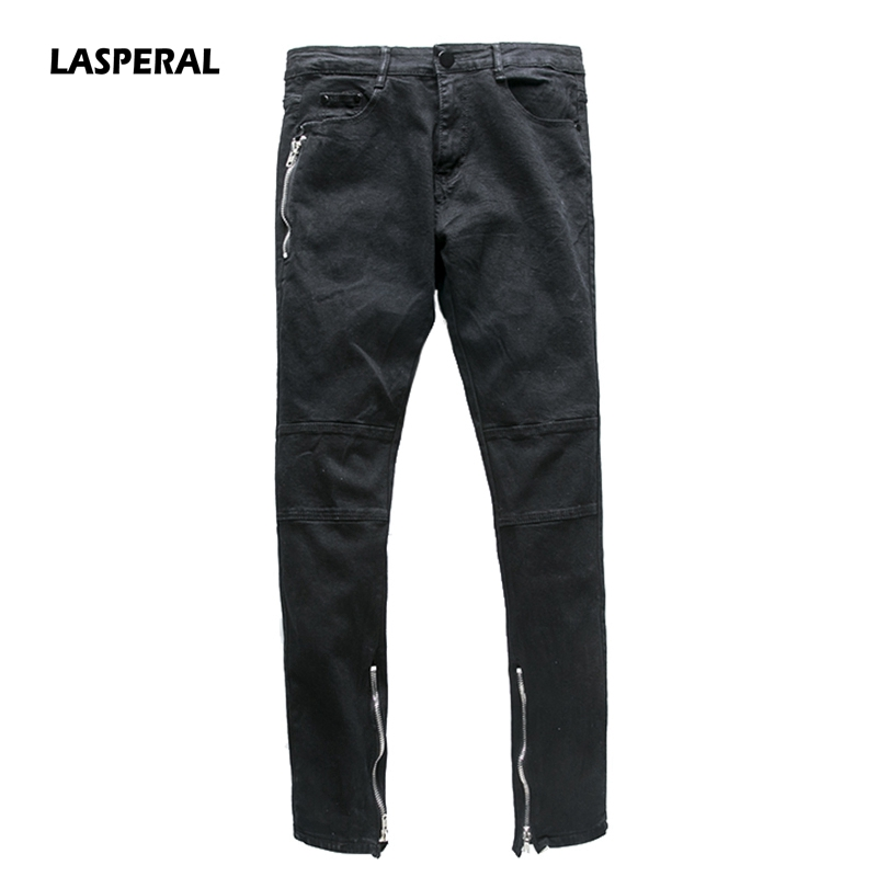 LASPERAL 2017 New Zipper Denim Men Jeans Fashion Casual Trousers Elastic Force Slim Fit Long Pants Pencil Pants Size 28-36 free shipping 48v 12ah 1000w electric bike battery 48v 12ah lithium battery pvc case with 30a bms 54 6v 2a charger