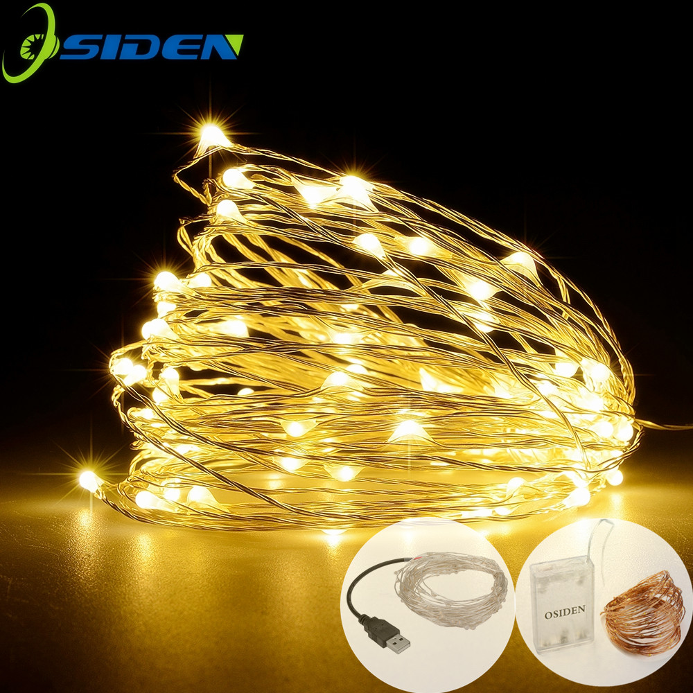 <font><b>LED</b></font> <font><b>Strip</b></font> 2-10m 20-100 <font><b>Led</b></font> Fairy Light String Outdoor Garland Christmas Wedding Party Decoration <font><b>Battery</b></font> <font><b>Operated</b></font> silver Copper image