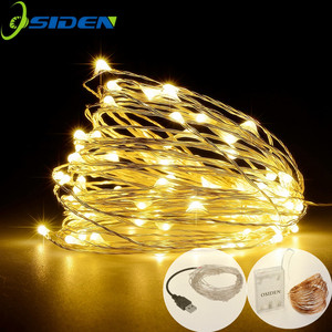 LED Strip 2-10m 20-100 Led Fairy Light String Outdoor Garland Christmas Wedding Party Decoration Battery Operated silver Copper