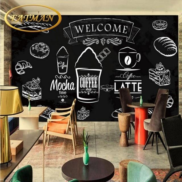 Benutzerdefinierte Foto Blackboard Kaffee Brot Wohnzimmer Schlafzimmer Tapeten Wandbild Restaurant Mural Hamburg Shop