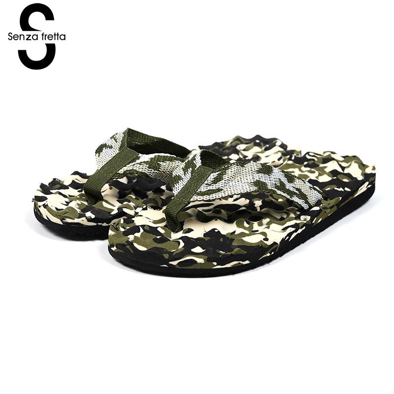 Senza Fretta Summer Men Shoes Beach Sandals Soft Massage Slippers Fashion Casual Camouflage Men's Cool With Outdoor Slippers women camouflage herringbone slippers massage bottom sandals