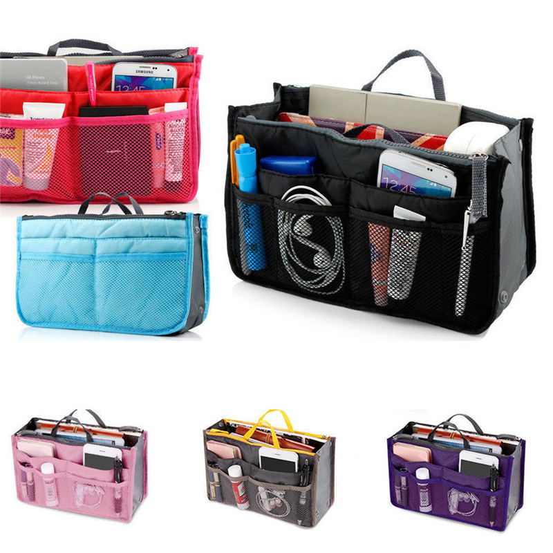 Travel Insert Handbag Organizer Purse Large Liner Nylon Organizer Tidy Eco-Friendly Folding Storage Bags 5 Colors Cosmetic Bags