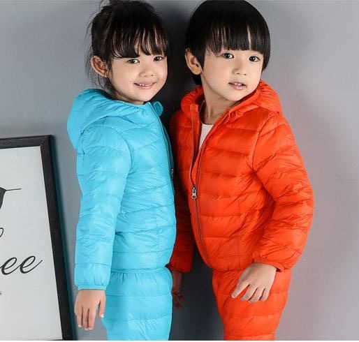 2PCS/Sets Winter Kids Down Cotton Parkas Pants Girls Boys Clothing Sets Children Thermal Jacket Brand Clothes jumping meters boys winter clothes children clothing sets animal tops pants 100% cotton 3017 brand kids tracksuit boys outfits