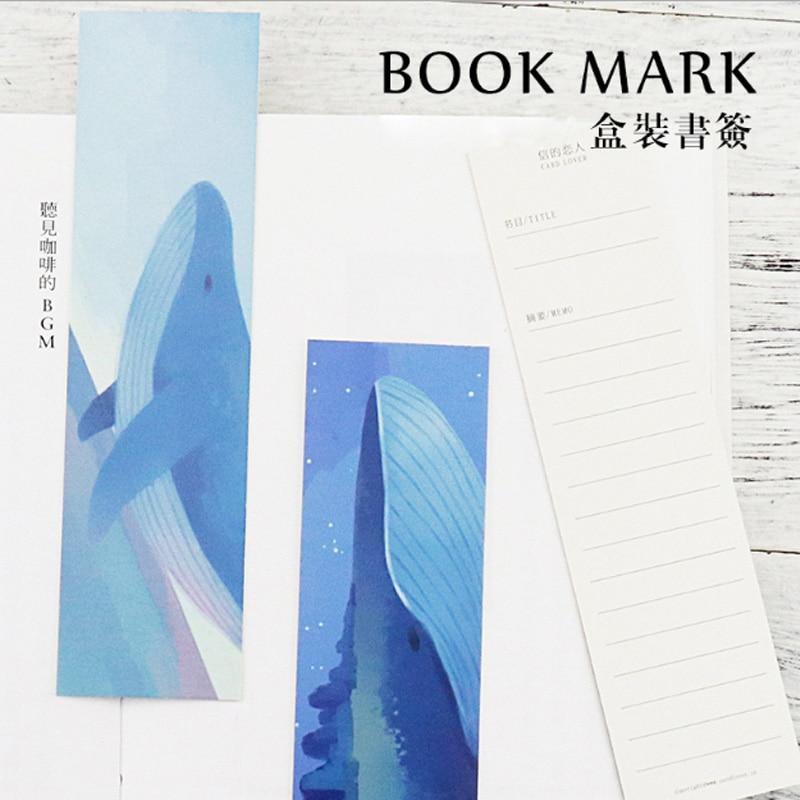 Купить с кэшбэком 30pcs/box Whale Island paper bookmark stationery bookmarks Kawaii Cartoon Promotional Gift Office school supplies papelaria