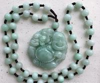Grade A rough stone Manual sculpture reseda laughing Buddha pendant necklace charm men's and women's style