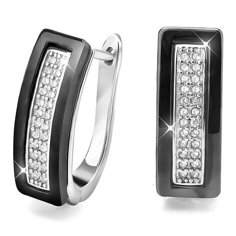 Новые серьги-гвоздики u-образной формы для женщин, ювелирные изделия для ушей, черные, белые настоящие натуральные керамические серьги аксессуары для свадьбы, помолвки