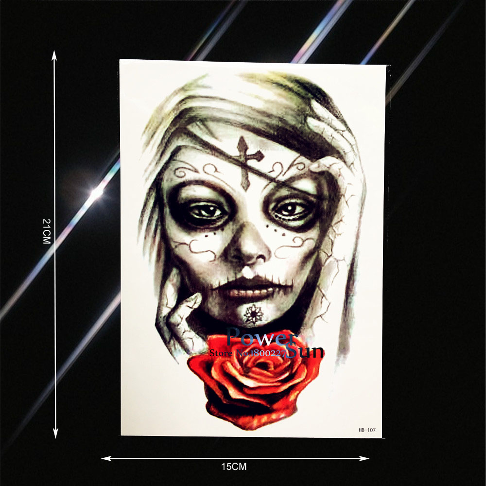 Fashion Cross Suture Women Rose Flower Arm Tattoo Waterproof Men Women Body Back Art Tatoo Fake Temporary Tattoo Stickers PHB107