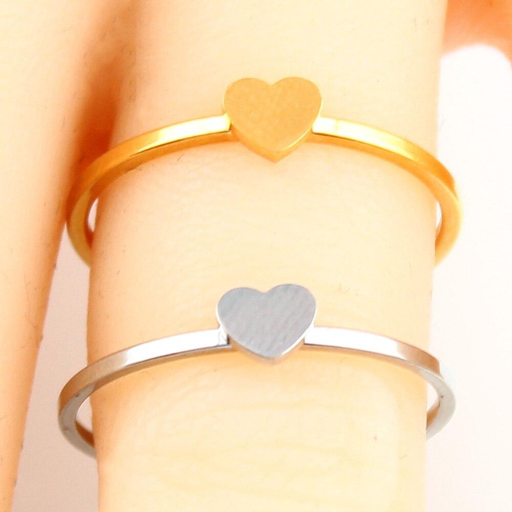 Кольцо в форме сердца с буквами, ювелирные изделия из нержавеющей стали, кольцо для аксессуаров, Серебряное Золотое кольцо на палец, набор ювелирных украшений для женщин - Цвет основного камня: heart-1