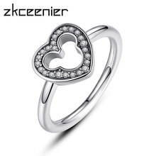 44a34314319 Dropshipping New Collection Mickey Silver Heart Finger Pandora Ring With  Clear CZ For Women Wedding Original Fine Jewelry