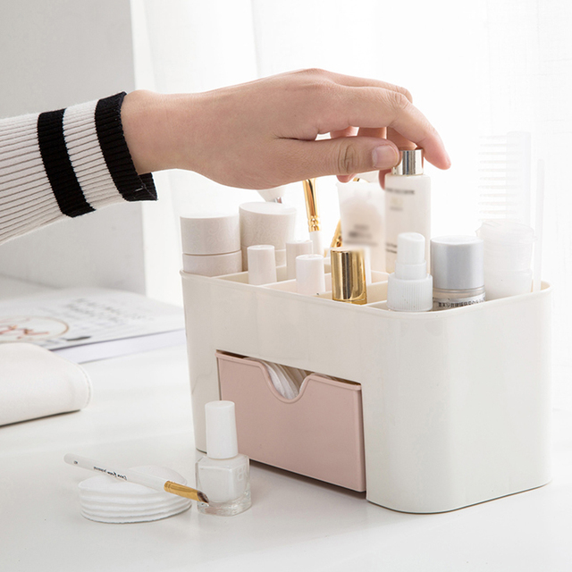Makeup Box  Organizer Jewelry Necklace Nail Polish Earring Plastic Storage Box