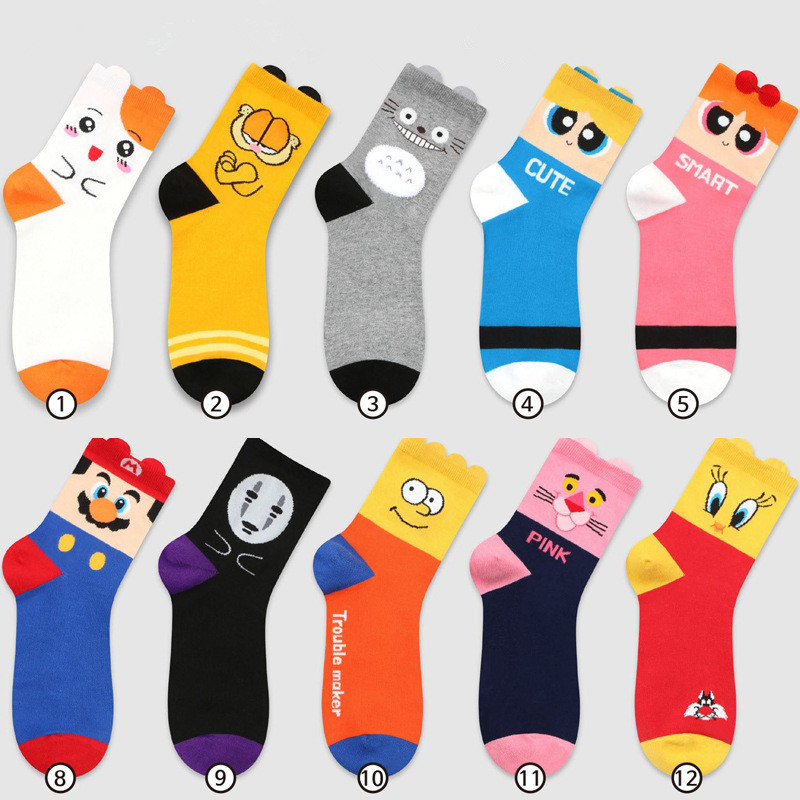 Cartoon My Neighbor Totoro   socks   Super Mario No Face Garfield fashion cute funny women   sock   comfortable breathable cotton   socks
