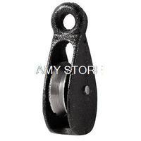 Черный металлический Вертлюг  одиночный веревочный ролик 32 кг