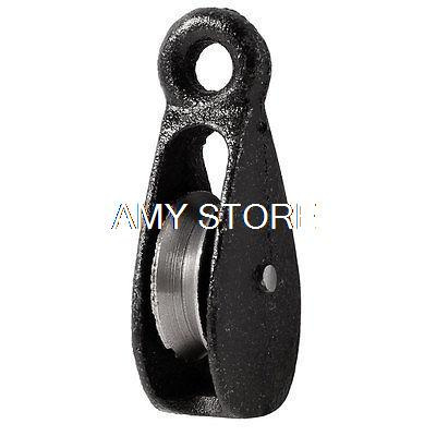 Black Metal Swivel Hook Single Rope Wheel 32Kg Load Pulley