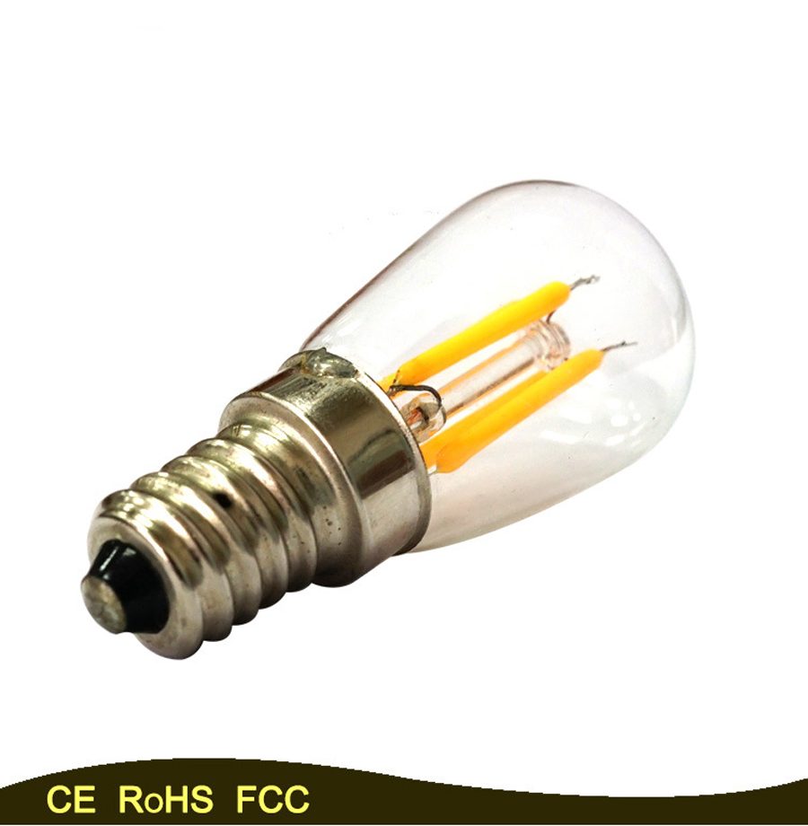 50PCS E14 LED Bulb Retro Vintage Edison,ST26 2W Led Filament Glass Light Lamp, Warm White Energy Saving Lamps Light AC220V e14 2w 180lm 3000k warm white light 2 led filament bulb transparent ac 220v