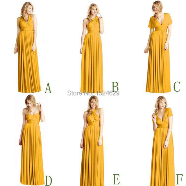 Cheap for sale 2015 Convertible Neckline Flowing Mustard Bridesmaid Dresses  A-Line V-Neck Halter Prom Party Formal Gown 8111cc67ecdb