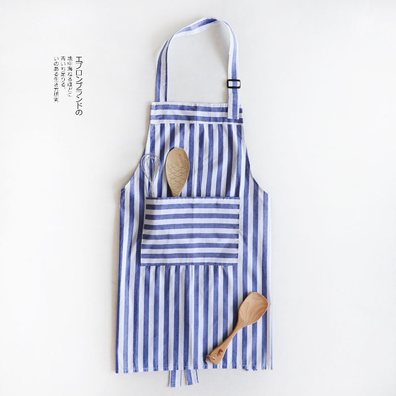 mediterranean brief blue and white stripes aprons sleevless couple models fashion kitchen. Black Bedroom Furniture Sets. Home Design Ideas