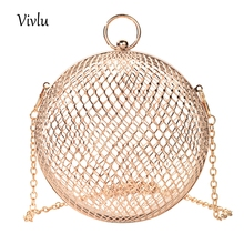 Hollow Metal Ball women shoulder bag gold Cages Round Clutch Evening Ladies Luxury Wedding Party Bags BG-053 Dropshipping