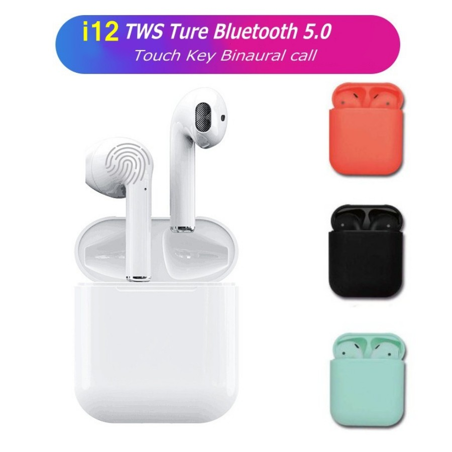 Caliente i12 Tws Bluetooth 5,0 auriculares estéreo mini 1:1 aire vainas auriculares inalámbricos auriculares con caja de carga de micrófono auriculares PK i10