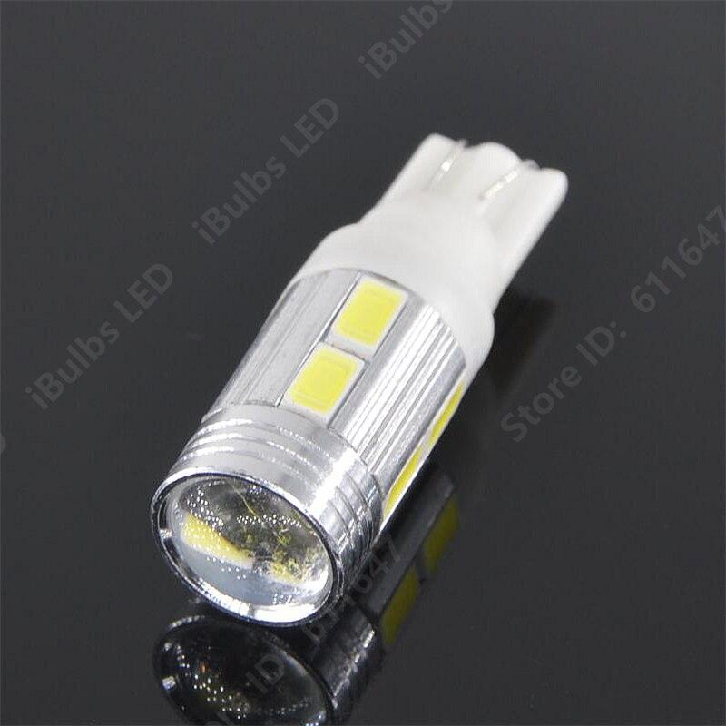 100Pcs Wholesale T10 W5W 10 LEDs 194 Auto 5630 SMD Car Interior lights Wedge Door Instrument