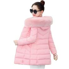 Korean Style Winter Coat Women Fur Collar Padded-Cotton Parkas Female Thicker Coats Jackets Medium-Long Hooded Overcoats Women
