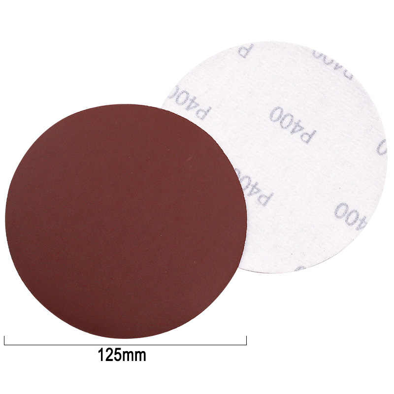 Discos de pulido circulares rojos, 5 uds., 10 Uds., 125mm con arena de fieltro, rueda de pulido, afilado, herramienta para Papel, Accesorios