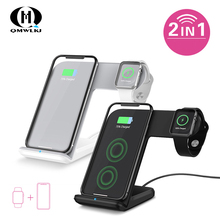 QM 2 in1 New Mobile Phone Watch Fast Charge Wireless Charger For iPhoneXS MAX XR X 8 Plus Huawei Samsung S8 S9