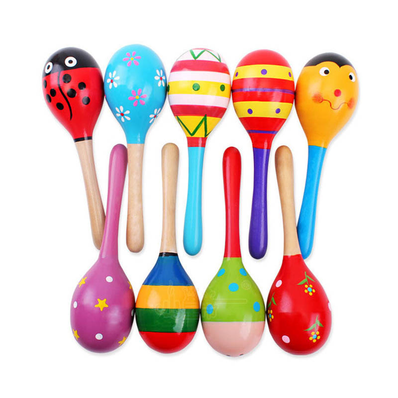 1pcs Cartoon Color Baby Rattle Sand Hammer Striped Dot Wooden Rattle Puzzle Early Education Toy Gift