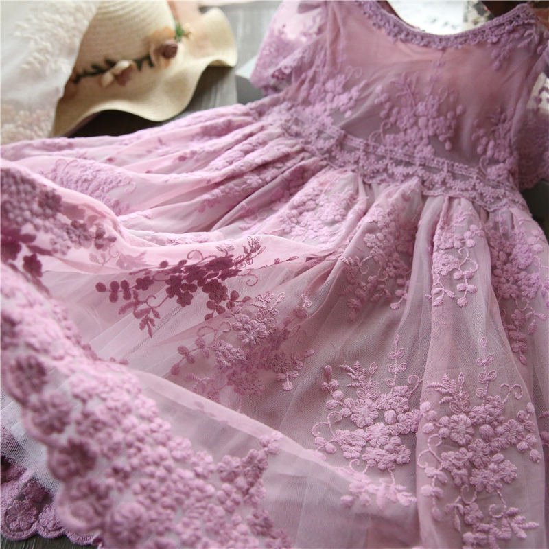 HTB1YS4leouF3KVjSZK9q6zVtXXaa Girl Dress Kids Dresses For Girls Mesh Casual Lace Embroidery Princess Baby Girl Clothes Summer Sleeveless Dress Kids Clothes
