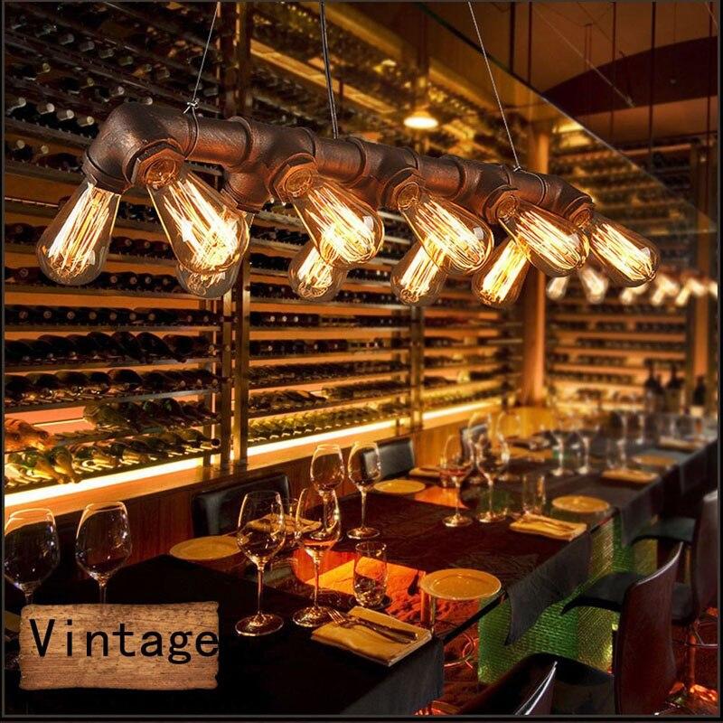 GETOP Loft NOUS Rétro Fer Pendentif Lampe Creative Pays Bar Restaurant Club E27 Maison Éclairage Industriel Steampunk Tuyau Lampe